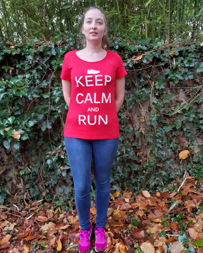 T-shirt-femme-Keep-calm-and-run-coton-bio